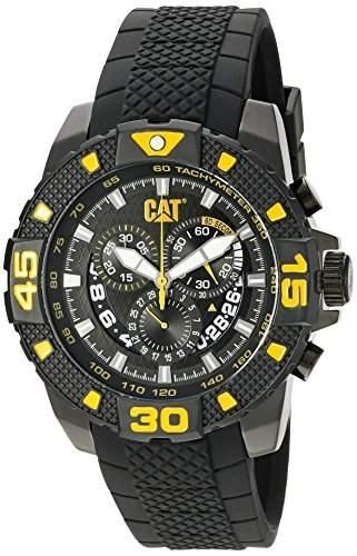 Caterpillar Mens Black Rubber Chronograph Date Watch PT16321127