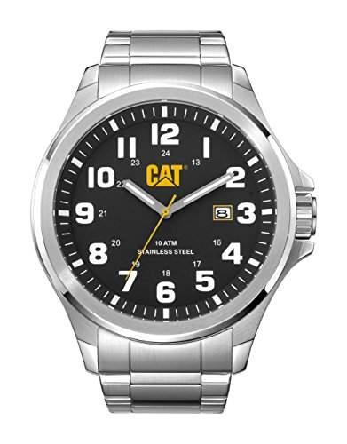 Cat Operator Herren Quarzuhr mit schwarzem Zifferblatt Analog-Anzeige und Silber Edelstahl Armband PU 14111111