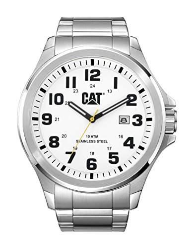 Cat Operator Herren Quarz Armbanduhr mit Silber Zifferblatt Analog-Anzeige und Silber Edelstahl Armband PU 14111211