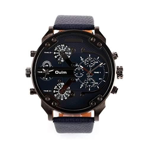 WINOMO Oulm Maenner Uhren Jungen-Armbanduhr Quarz PU-Band Uhr schwarz