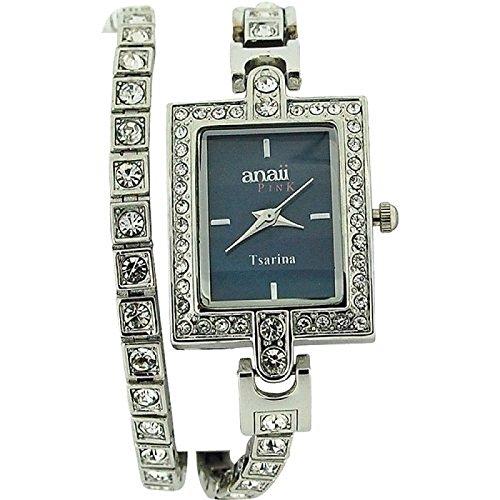 Anaii Pink Tsarina kristallbes Tennisuhr mit extral blauen Armband AP573
