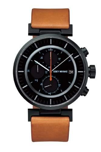Issey Miyake Unisex-Armbanduhr W Chronograph Leder Beige SILAY006