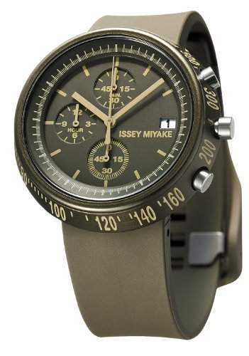 Issey Miyake Trapazoid Unisex Armbanduhr Chronograph PU Strap SILAZ008 Brown