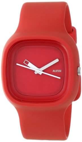 Alessi Unisex-Armbanduhr Analog Quarz Plastik rot AL10016