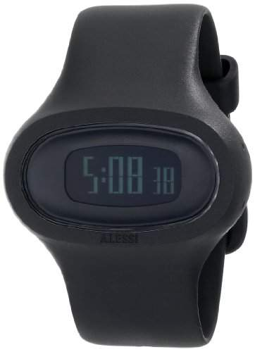 Alessi Unisex-Armbanduhr Digital Quarz Kunststoff schwarz AL25000
