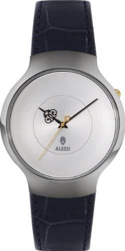 Alessi Unisex-Armbanduhr Analog leder schwarz AL27000
