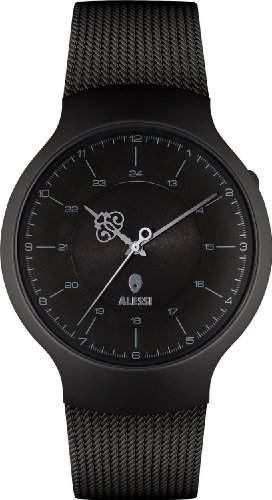 Alessi Unisex-Armbanduhr mit schwarzem Zifferblatt Analog-Anzeige und Schwarz-Edelstahl-Armband AL27002