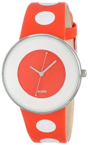 Alessi Unisex-Armbanduhr Analog Quarz Leder orange AL8013