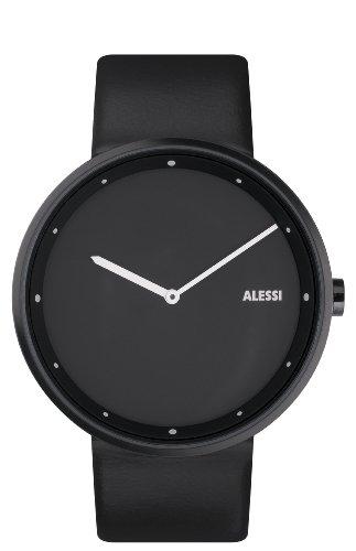 Alessi AL13003 Unisex Out Time Edelstahl Lederband Quarz Multifunktions Zifferblatt Uhr
