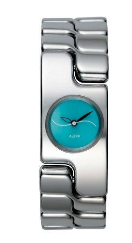 Alessi AL15001 Frauen Edelstahl Armband 20mm Automatische blaue Zifferblatt Analoguhr