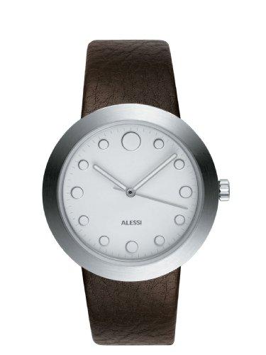 Alessi AL16001 Damen Automatik Braun Lederband Weiss Zifferblatt Analoguhr