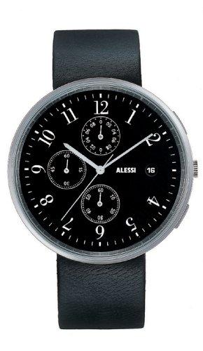 Alessi Unisex Edelstahl Schwarz Lederarmband Schwarz Zifferblatt Silber Uhr