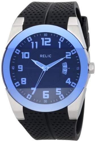 Relic Herren Jack Black Rubber WBlue Crystal Armbanduhr