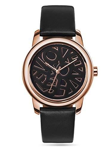 Fashion TV Paris Damen Armbanduhr Markenuhr extravagantes Logo Design auf dem Ziffernblatt Analog Quarz rosegold schwarz