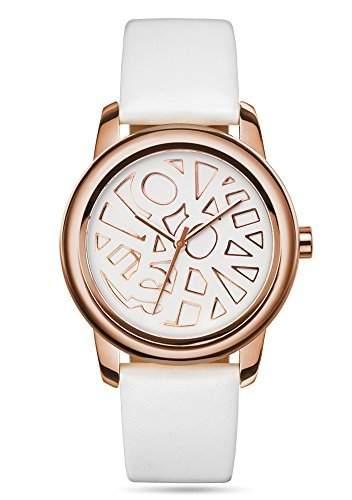 Fashion TV Paris Damen Armbanduhr Markenuhr extravagantes Logo Design auf dem Ziffernblatt Analog Quarz rosegold weiß