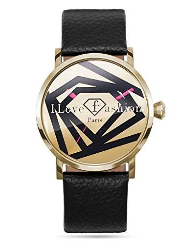 Fashion TV Paris Damen Armbanduhr Markenuhr einzigartiges Design Dreieck Triangle Diamant Analog Quarz schwarz gold
