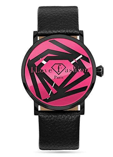Fashion TV Paris Damen Armbanduhr Markenuhr einzigartiges Design Dreieck Triangle Diamant Analog Quarz schwarz pink rosa