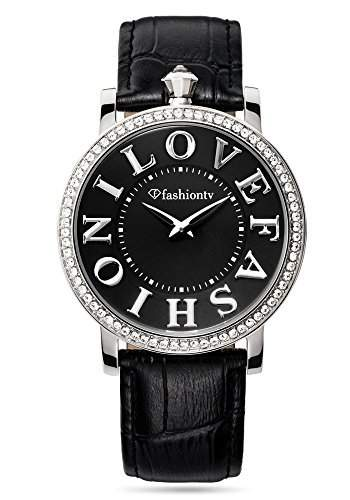 Fashion TV Paris Damen Armbanduhr Markenuhr I LOVE FASHION Strass mit original Swarovski Kristallen Analog Quarz silber schwarz