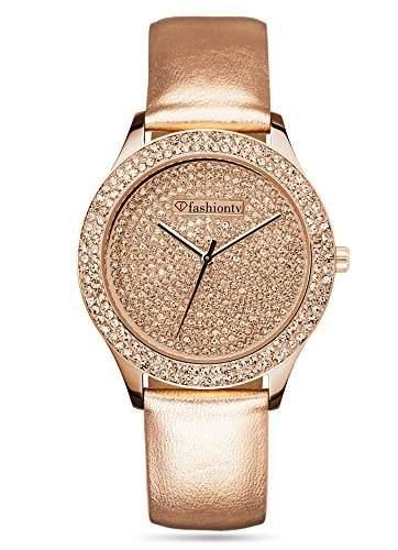 Fashion TV Paris Damen Armbanduhr Markenuhr sportlich elegant Strass mit original Swarovski Kristallen rosegold