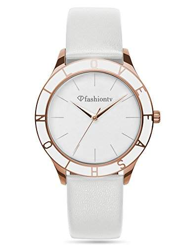 Fashion TV Paris Damen Armbanduhr Markenuhr sportlich elegant Analog Quarz rosegold weiß