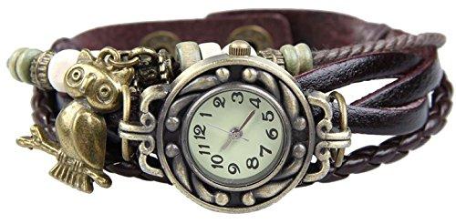 Boolavard TM Uhr Leder Armbanduhr Armreif Damenuhr Lady Quarz Bracelet Beads Watch Geschenk Gift Eule