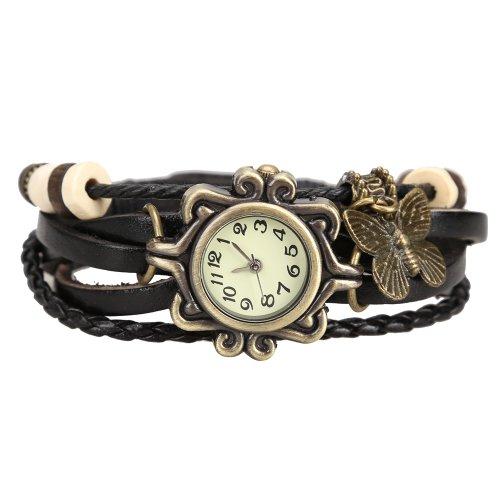 Boolavard Damen oder Herren Leder Armbanduhren Mode Armband mit Schmetterling Einfachen Stil Zifferblatt