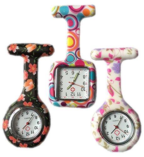 BOOLAVARD 3 x Uhren Krankenschwester FOB Uhr Damen Taschenuhr Analog Quarzuhr aus Silikon ROUND Black Orange Blume SQUARE Blase