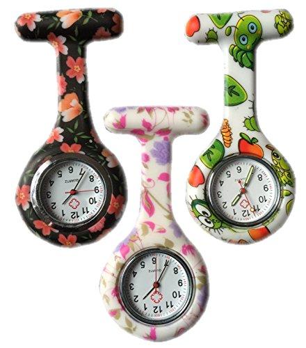 BOOLAVARD 3 x Uhren Krankenschwester FOB Uhr Damen Taschenuhr Analog Quarzuhr aus Silikon ROUND Black Orange Blume Bug