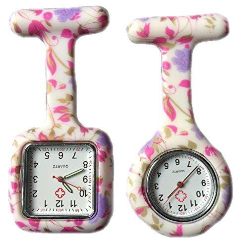 BOOLAVARD 2 x Uhren Krankenschwester FOB Uhr Damen Taschenuhr Analog Quarzuhr aus Silikon ROUND SQUARE Purple Flower