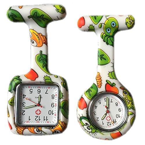 BOOLAVARD 2 x Uhren Krankenschwester FOB Uhr Damen Taschenuhr Analog Quarzuhr aus Silikon ROUND SQUARE Bug