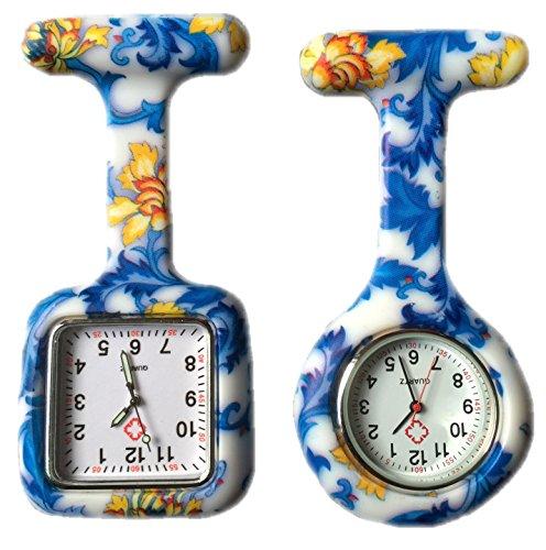 BOOLAVARD 2 x Uhren Krankenschwester FOB Uhr Damen Taschenuhr Analog Quarzuhr aus Silikon ROUND SQUARE Blue Flower