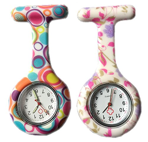 BOOLAVARD 2 x Uhren Krankenschwester FOB Uhr Damen Taschenuhr Analog Quarzuhr aus Silikon ROUND Blase Blume