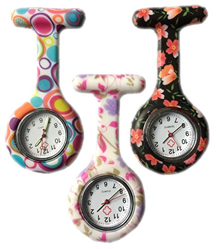 BOOLAVARD 3 x Uhren Krankenschwester FOB Uhr Damen Taschenuhr Analog Quarzuhr aus Silikon ROUND Blase Blume Black Orange