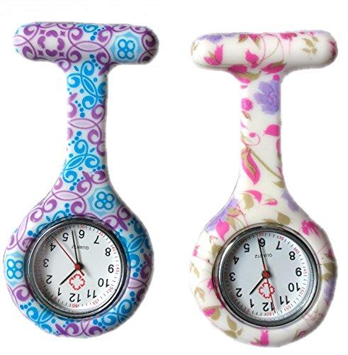 BOOLAVARD 2 x Uhren Krankenschwester FOB Uhr Damen Taschenuhr Analog Quarzuhr aus Silikon ROUND Blume Swirl