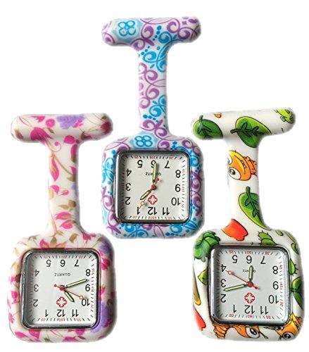 BOOLAVARD 3 x Uhren Krankenschwester FOB Uhr Damen Taschenuhr Analog Quarzuhr aus Silikon SQUARE Blume Swirl Bug