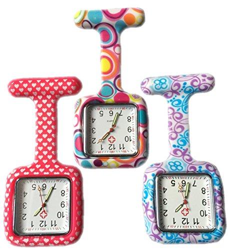 BOOLAVARD 3 x Uhren Krankenschwester FOB Uhr Damen Taschenuhr Analog Quarzuhr aus Silikon SQUARE Red Heart Blase Swirl
