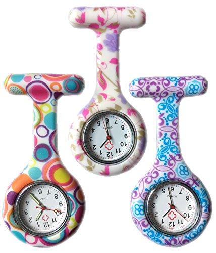 BOOLAVARD 3 x Uhren Krankenschwester FOB Uhr Damen Taschenuhr Analog Quarzuhr aus Silikon ROUND Blase Blume Swirl