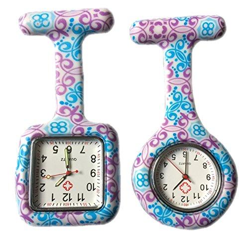 BOOLAVARD 2 x Uhren Krankenschwester FOB Uhr Damen Taschenuhr Analog Quarzuhr aus Silikon ROUND SQUARE Swirl