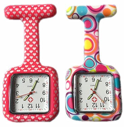 BOOLAVARD 2 x Uhren Krankenschwester FOB Uhr Damen Taschenuhr Analog Quarzuhr aus Silikon SQUARE Red Heart Blase