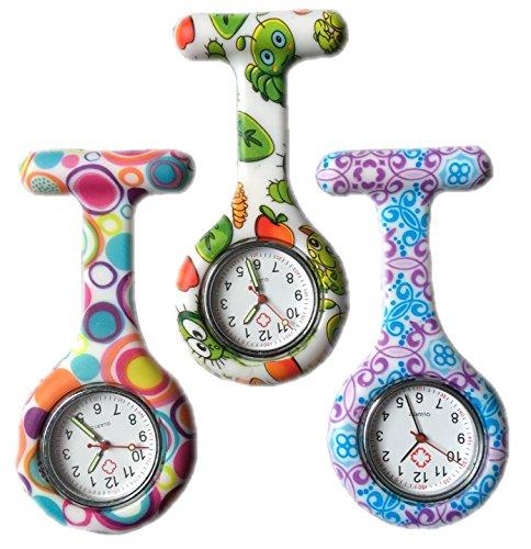 BOOLAVARD 3 x Uhren Krankenschwester FOB Uhr Damen Taschenuhr Analog Quarzuhr aus Silikon ROUND Blase Bug Swirl