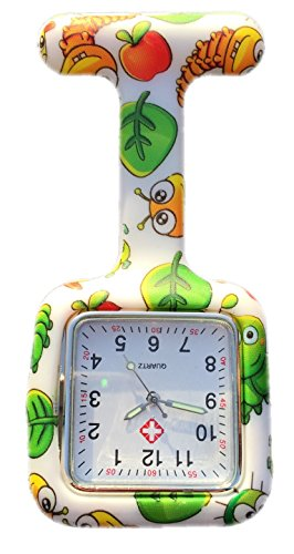Boolavard TM Nurses Fob Watch Krankenschwestern Silikon Tunika Brosche Taschenuhren SQUARE Bugs