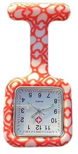 Boolavard TM Nurses Fob Watch Krankenschwestern Silikon Tunika Brosche Taschenuhren SQUARE Orange Herzen