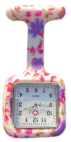Boolavard TM Nurses Fob Watch Krankenschwestern Silikon Tunika Brosche Taschenuhren SQUARE Blasse Purpurrote Blumen