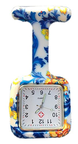 Boolavard TM Nurses Fob Watch Krankenschwestern Silikon Tunika Brosche Taschenuhren SQUARE Blaue Blumen