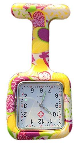 Boolavard TM Nurses Fob Watch Krankenschwestern Silikon Tunika Brosche Taschenuhren SQUARE Gelb Rosa