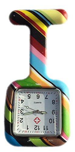 Boolavard TM Nurses Fob Watch Krankenschwestern Silikon Tunika Brosche Taschenuhren SQUARE Regenbogen