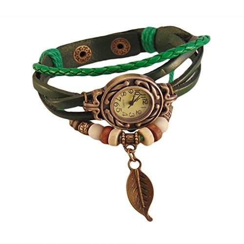 Vintage Kaffee Wickelarmband Damen Armbanduhr Lederarmband Bronze Blatt Anhaenger Holzperlen Analog Quarz Uhr,Boolavard Uhren