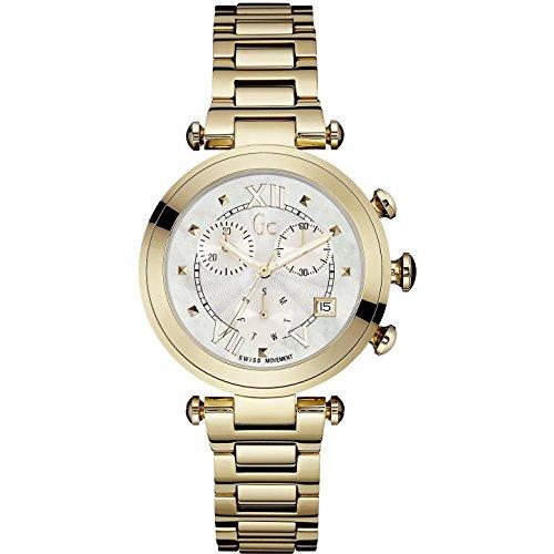 Guess Collection Lady Chic Damen Armbanduhr Armband Gold beschichtetes Edelstahl Batterie Analog Y05008M1