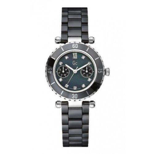 GUESS COLLECTION I46003L2 Zeige Frau Multifunktion bezifferst Diamanten keramisches Armband schwarz