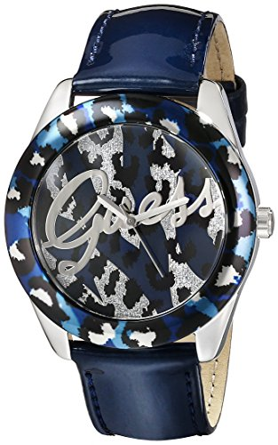 GUESS Damen U0455L1 Iconic Blue Patent Armbanduhr with Animal Print Dial
